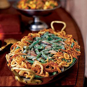 New green bean casserole topped with French fried onion