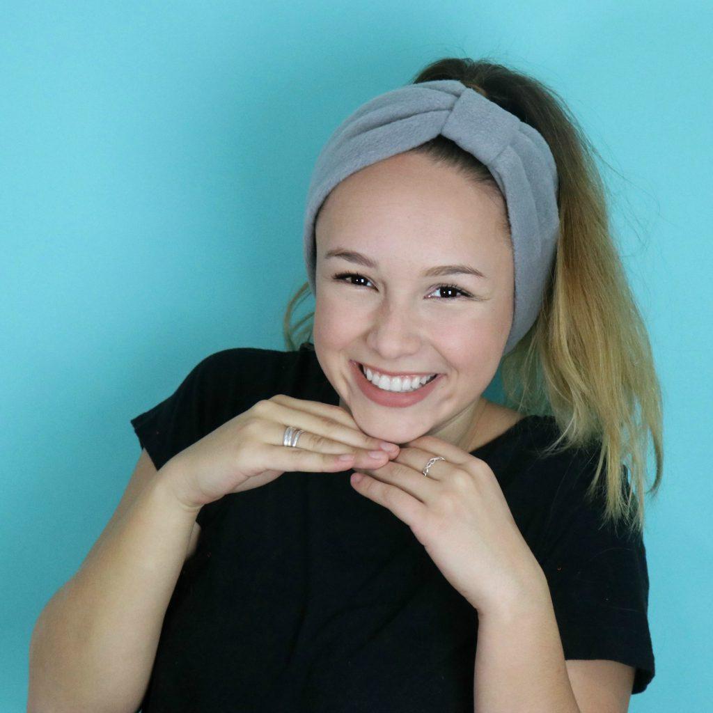 Courtney wearing a DIY winter headband