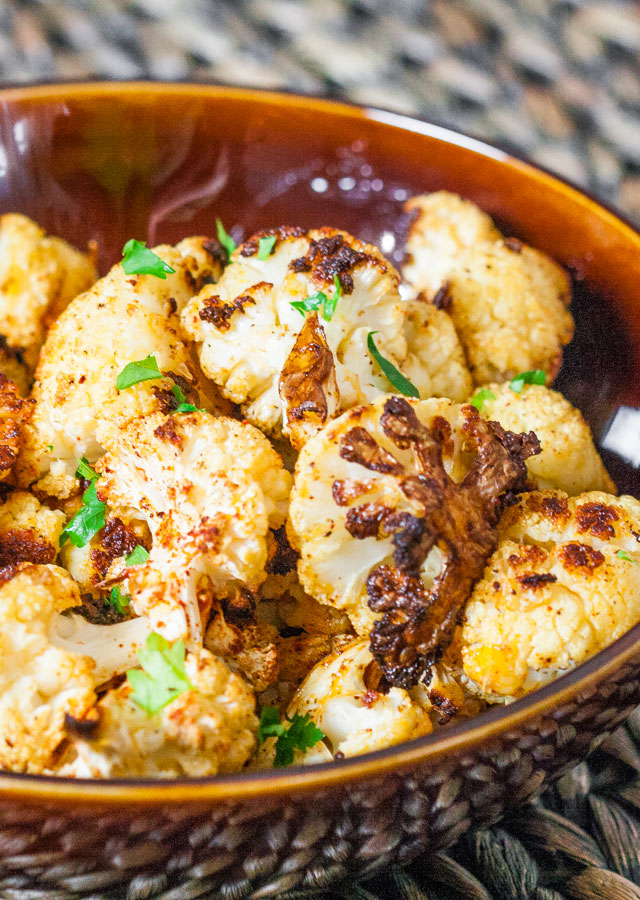 cauliflower pieces coated with spices and roasted to perfection
