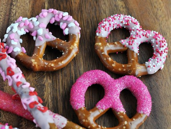 Dipped and decorated Valentine pretzels