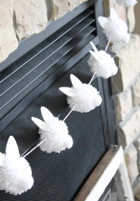 Easter bunny pompom garland