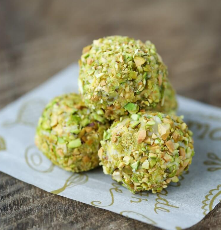 low carb snack or dessert ket0 pistachio truffles or fat bombs