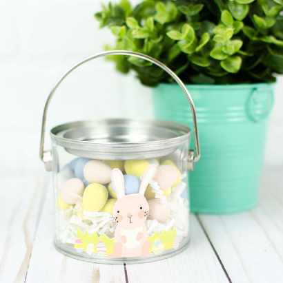 Easter bucket with a cute print then cut bunny at the middle
