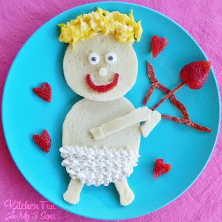 Breakfast pancake that looks like a valentine cupid