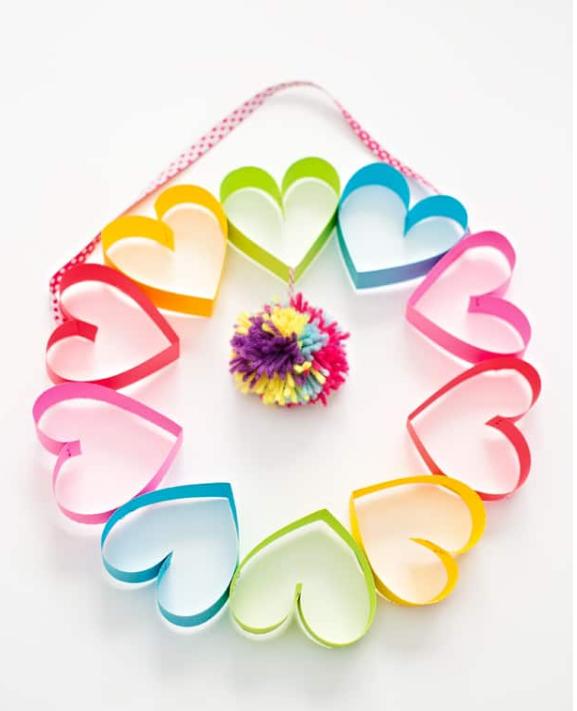 Rainbow paper heart pompom wreath