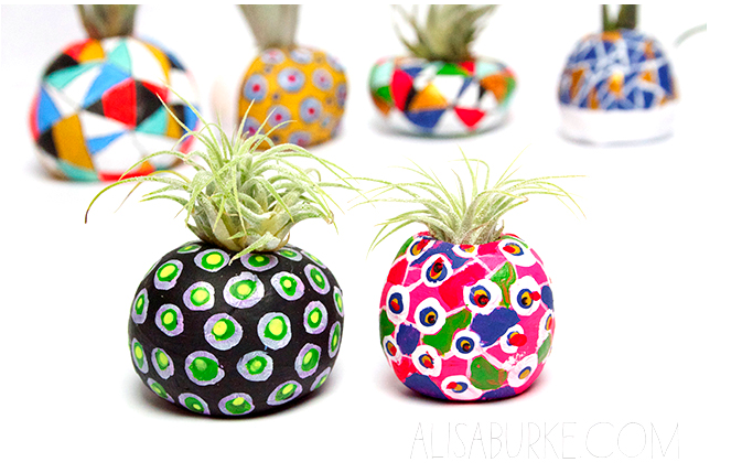 painted air dry clay pots for air plants