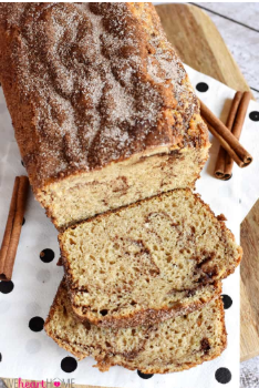 Soft and sweet cinnamon bread swirled with cinnamon-sugar and topped with even more.