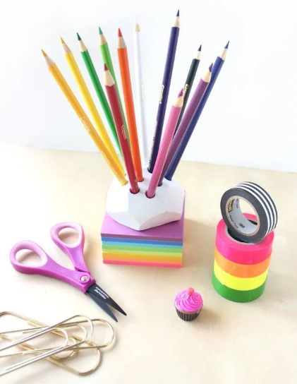 colored air dry clay pencil holders