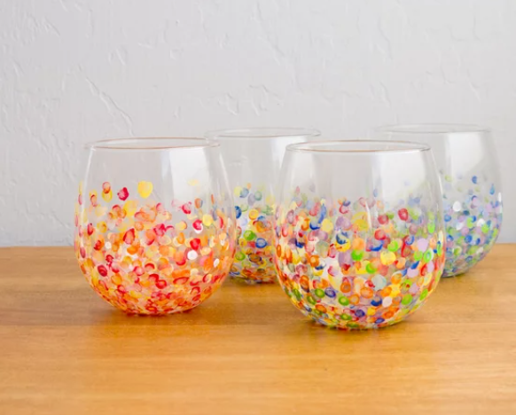 Colorful hand dotted tumblers that teens will love making