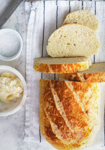 quick and easy Croatian no yeast milk bread with salt and butter on the side