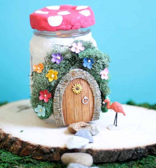air dry clay fairy house made from a jar