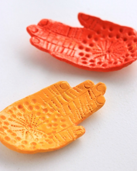 clay hand shaped trinket dishes