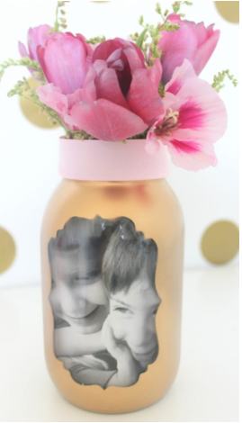 Mother's day vase with a photo of the kids on it and a beautiful pink flowers