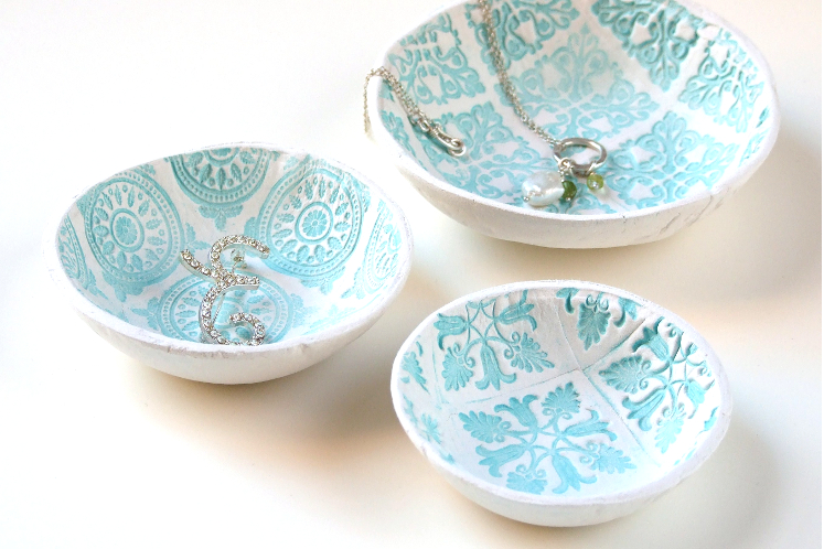 air dry clay bowls with designs pressed into them