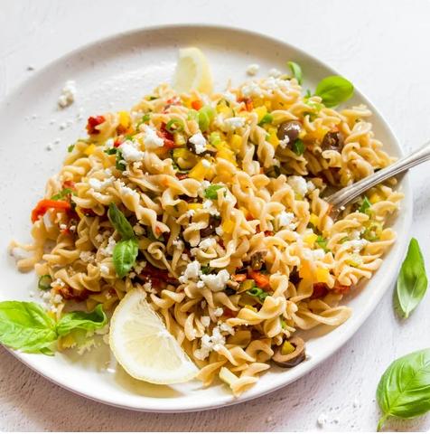 A plate of Haloumi Pasta Salad