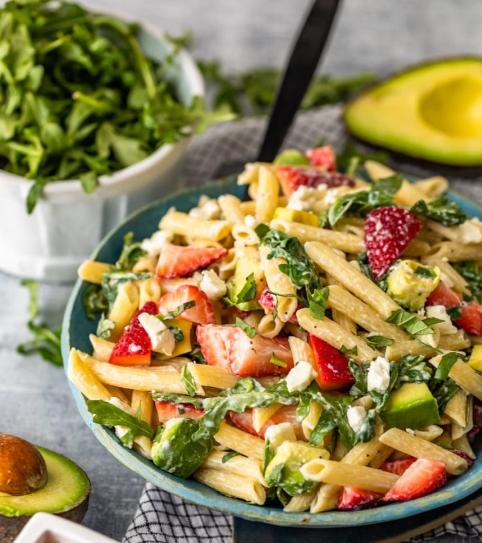 Creamy Strawberry Avocado Pasta Salad