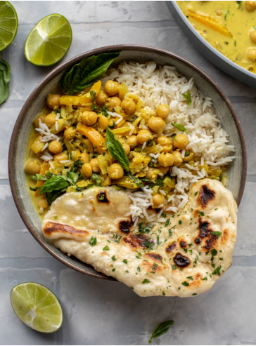 A warming and flavorful basil chickpea curry under 20 minutes