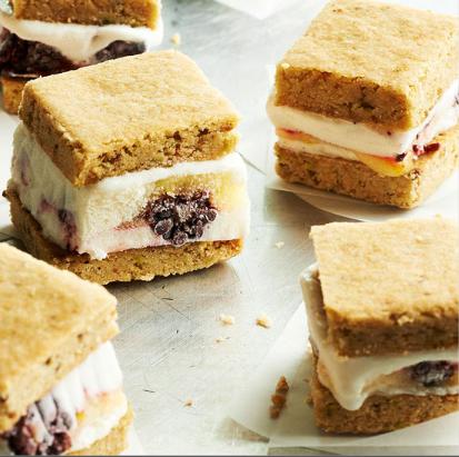 Blackberry and Lemon ice cream sandwiches with pistachio shortbread