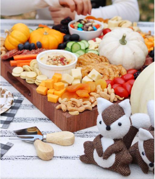 A cute charcuterie board for kids fun friendsgiving party activity