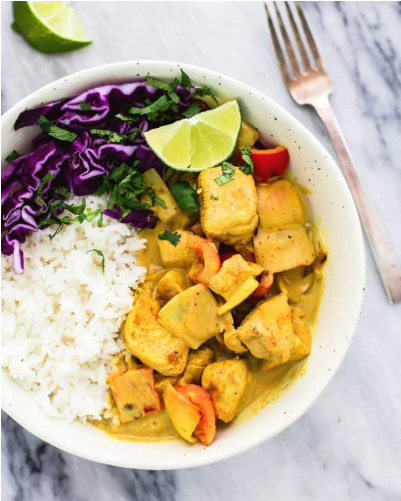 An easy to make rich in flavor coconut curry chicken