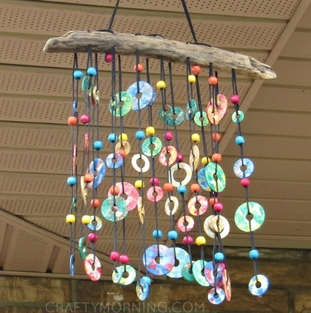 Colorful metal washer wind chimes