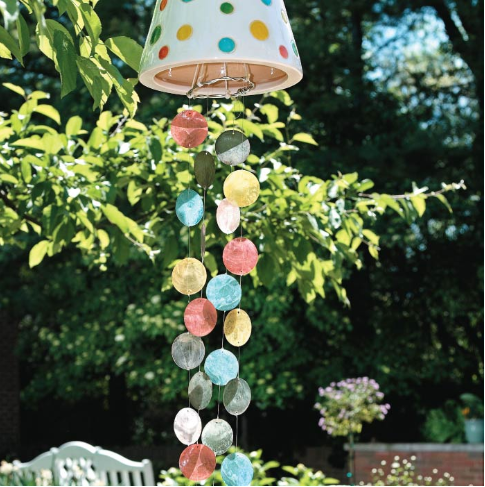 A beautiful and colorful wind chimes, the chimes are made of colorful glass shells