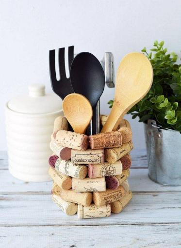 utensil holder made from wine corks