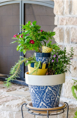 flower pots decorated with decoupage