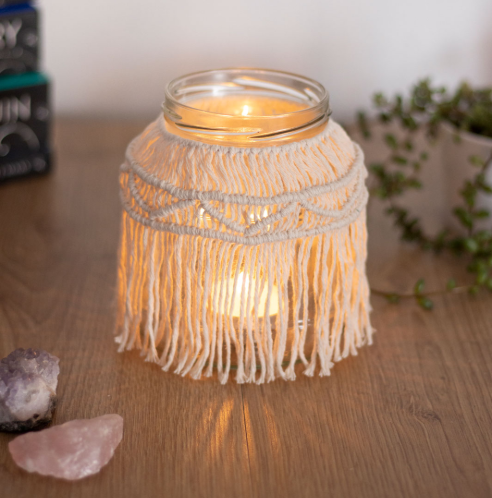 candle jar decorated with macrame
