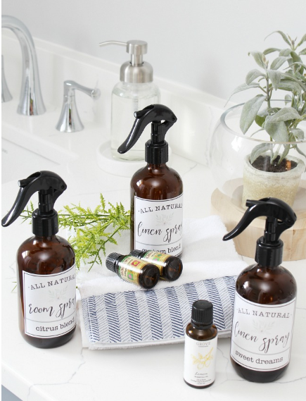 Homemade room and linen spray with printable labels