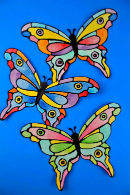 faux stained glass butterflies