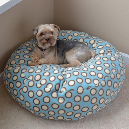cute fluffy fleece dog bed