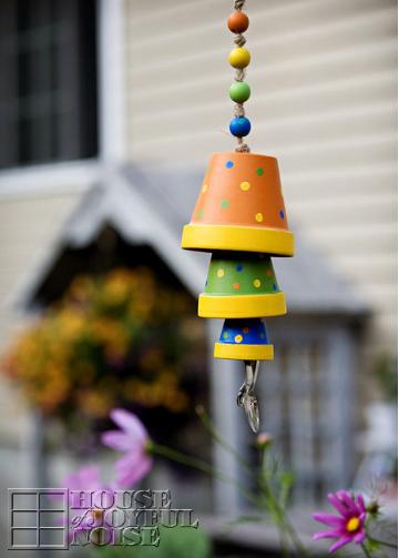 Terracotta flower pot wind chimes