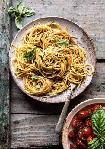 A garden fresh garlic basil brown butter pasta under 20 minutes