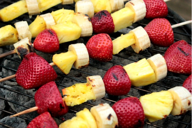 Grilled pineapple, banana, and strawberries kabobs