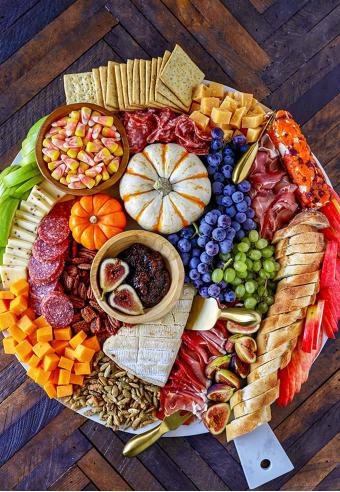 An easy fall appetizer harvest charcuterie board