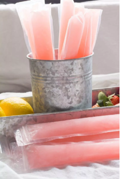A summer perfect treat with the pink lemonade margarita ice pops.