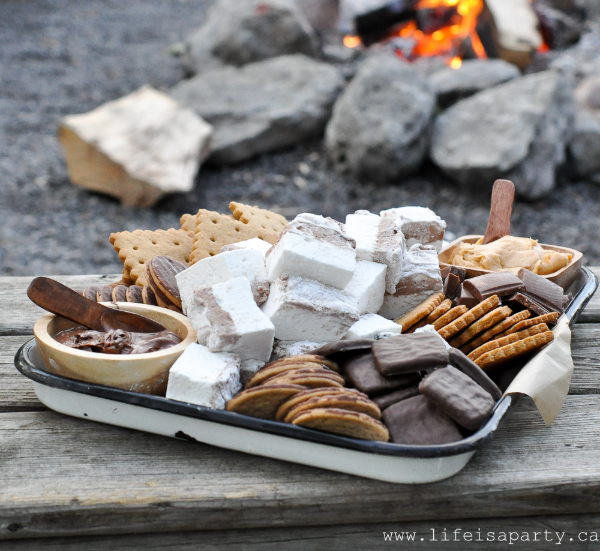 S'mores charcuterie board a perfect summer treat themed dessert for camping activity