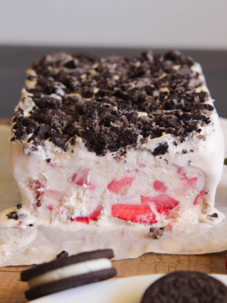 A slice of Strawberry and Oreo frozen fruit dessert