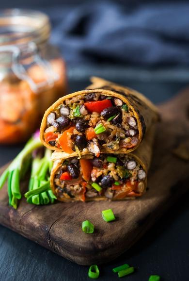 A healthy vegetarian dinner recipe Korean kimchi burritos