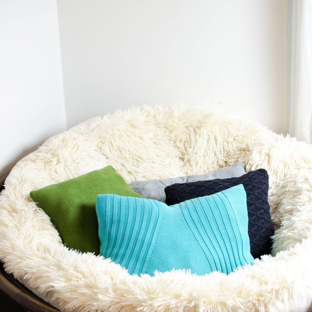 old sweaters made over into pillows