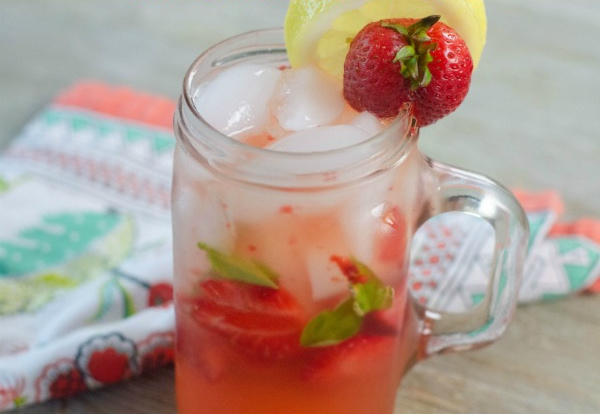 Strawberry and basil lemonade