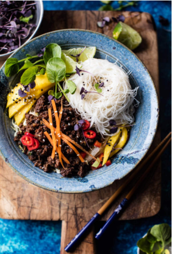 Asian basil beef and mango noodle salad under 30 minutes