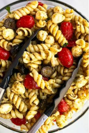 Basil pesto pasta salad with mozzarella and cherry tomatoes