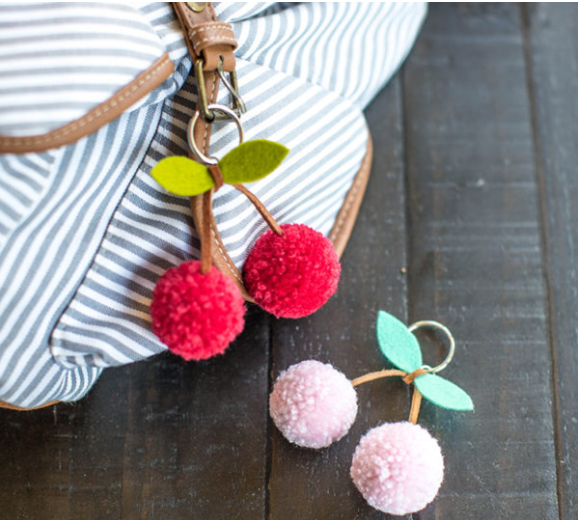 cherry pompom keychains