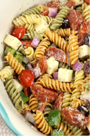Classic pasta salad filled with pepperoni, cheese, veggies, and a homemade vinaigrette dressing