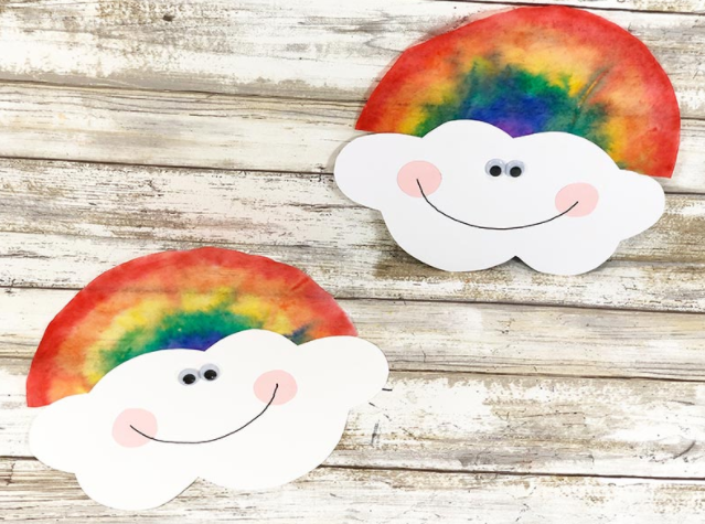 A super cute coffee filter rainbow with smiley face