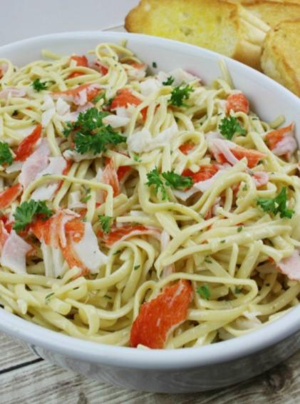 Crab Linguini with lemon butter garlic sauce