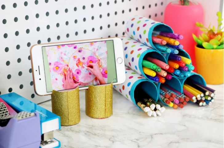 Desk decors made from cardboard tubes