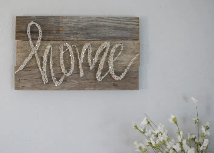 Rustic but so pretty home string sign